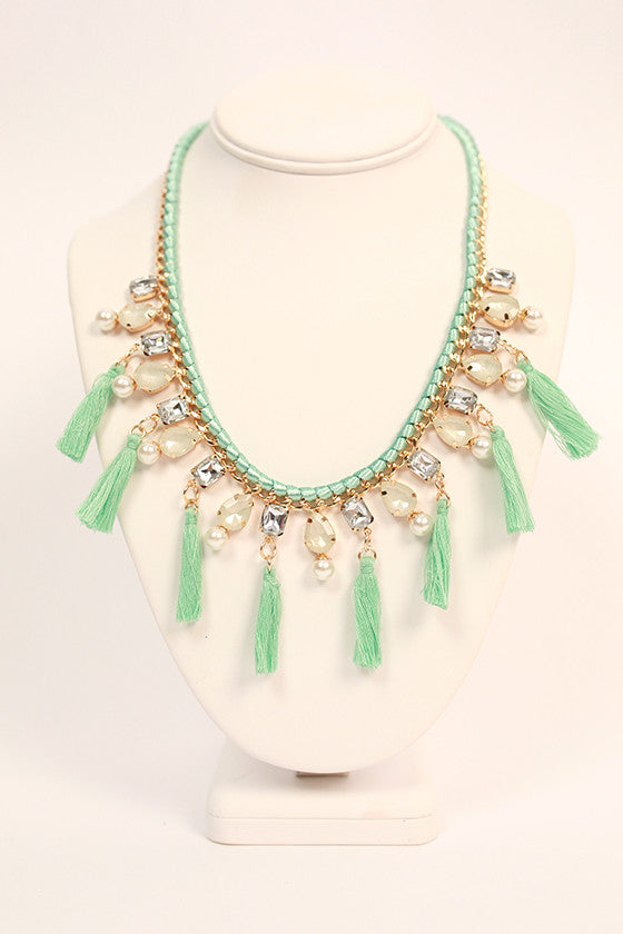 Crystal Crush Necklace in Aqua