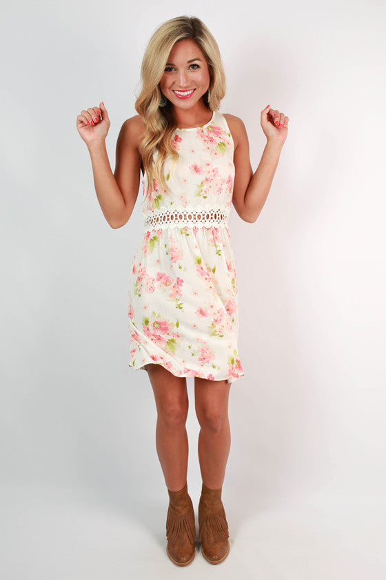 Pretty in Floral Tank Dress in White