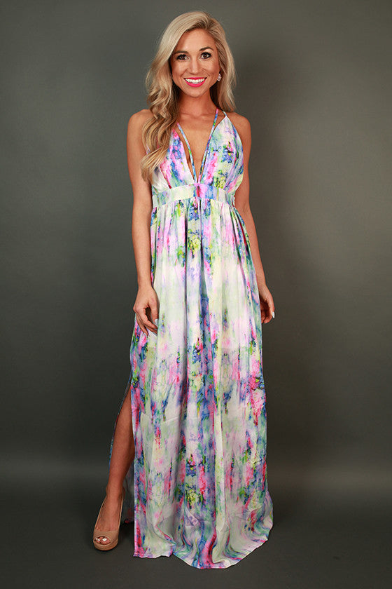 Wish Me Luck Watercolor Maxi Dress