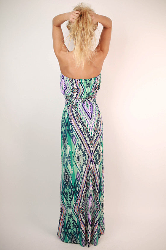 Summer Sky Strapless Maxi Dress in Turquoise