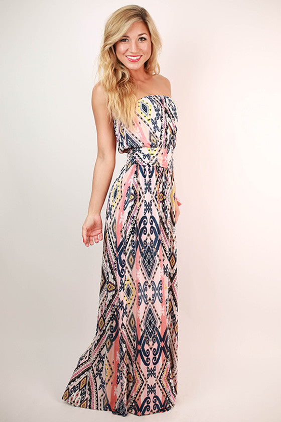 Summer Sky Strapless Maxi Dress in Pink