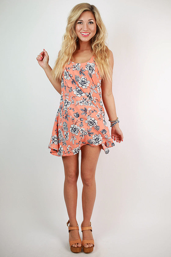 La Fleur Floral Twirl Dress in Coral