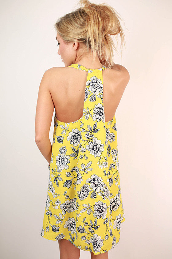La Fleur Floral Twirl Dress in Yellow