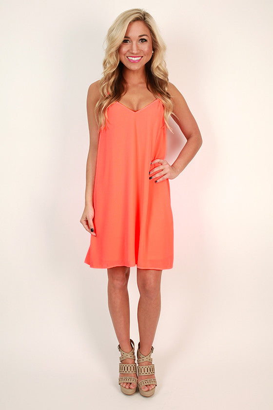 My Night Out Dress in Neon Coral