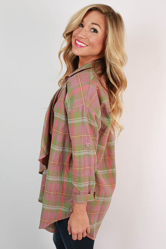 Away We Go Plaid Cardi