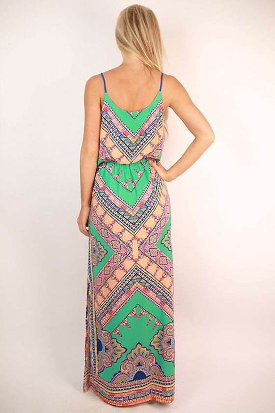 Island Retreat Maxi Dress in Ocean Wave