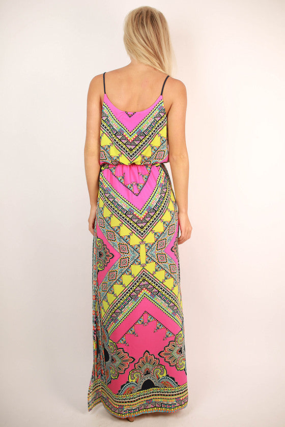 Island Retreat Maxi Dress in Hot Pink