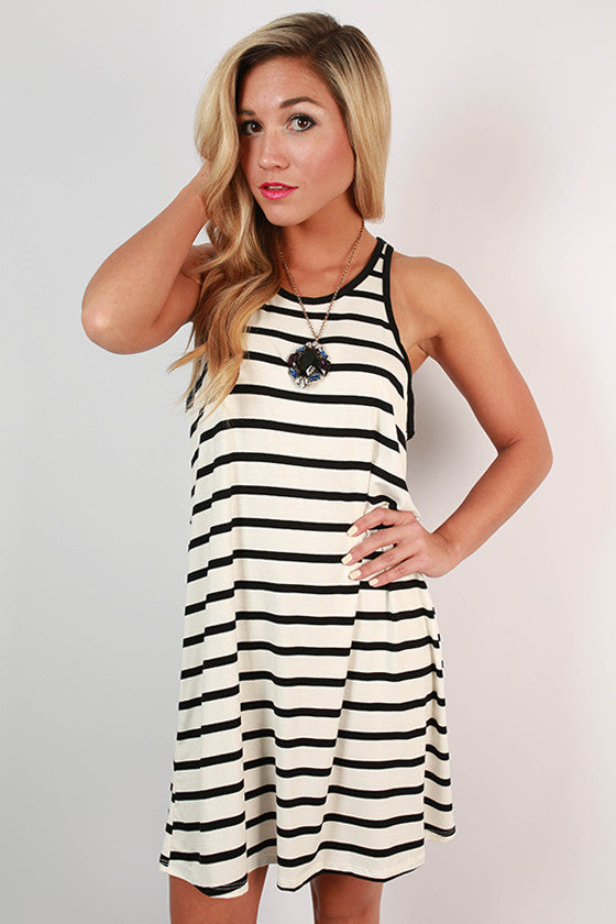 Girls Who Brunch Stripe Tank Dress in White