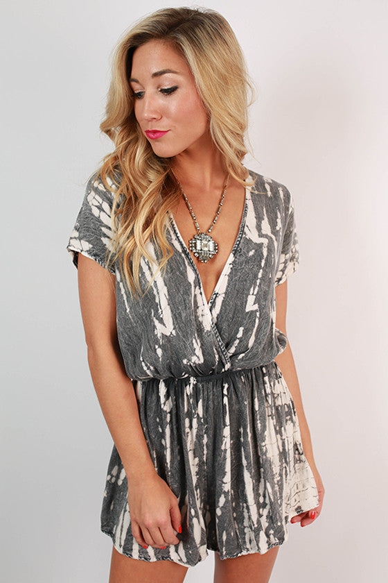 0dde181b129 Twist & Shout Tie Dye Romper in Grey • Impressions Online Boutique