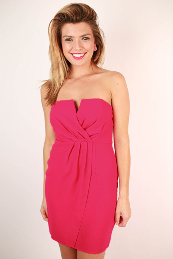 I'm With The Band Spaghetti Strap Dress in Fuchsia