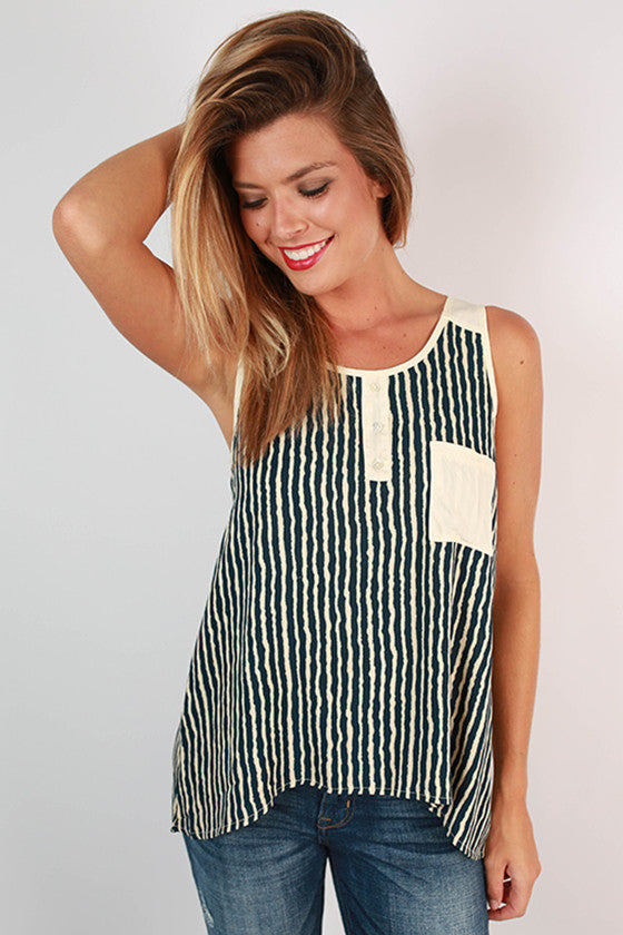 Like A Firework Stripe Top in Navy