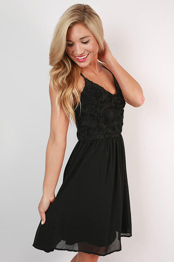Roses at the Ritz Dress in Black