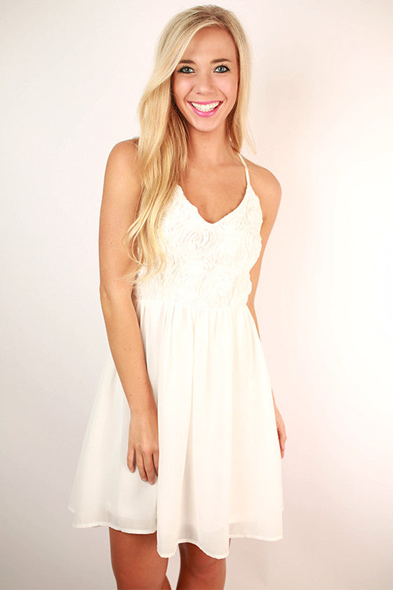 Roses at the Ritz Dress in White
