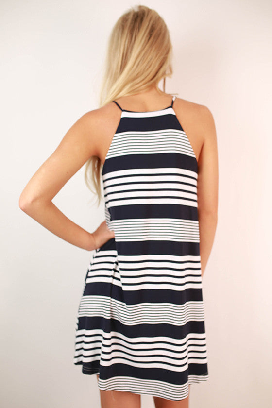 Juniper Breeze Stripe Dress in Navy