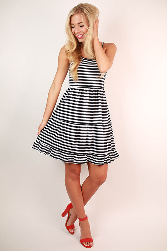 Eye Candy Stripe Ruffle Dress in Navy