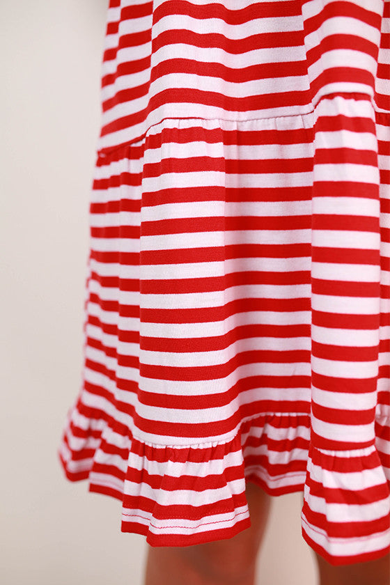 Eye Candy Stripe Ruffle Dress in Red