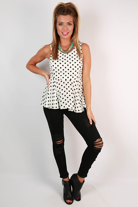 Polka So Pretty Bow Peplum Tank in White
