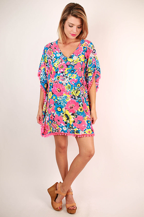 Searching for Sunshine Pom Pom Caftan Dress in Neon Pink