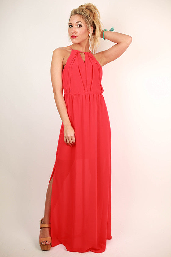 Living in Color Open Back Maxi Dress in Red