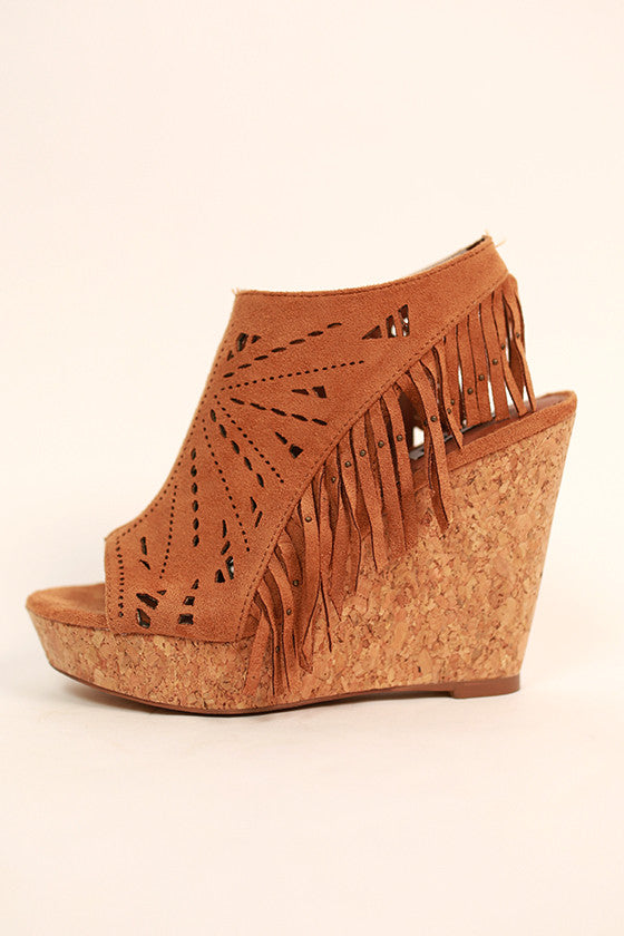 Fringe Delight Wedge in Brown