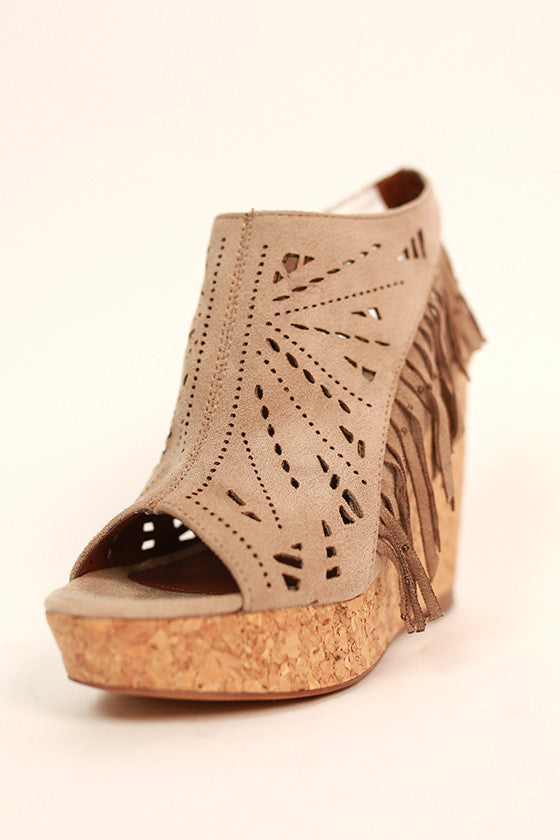 Fringe Delight Wedge in Taupe