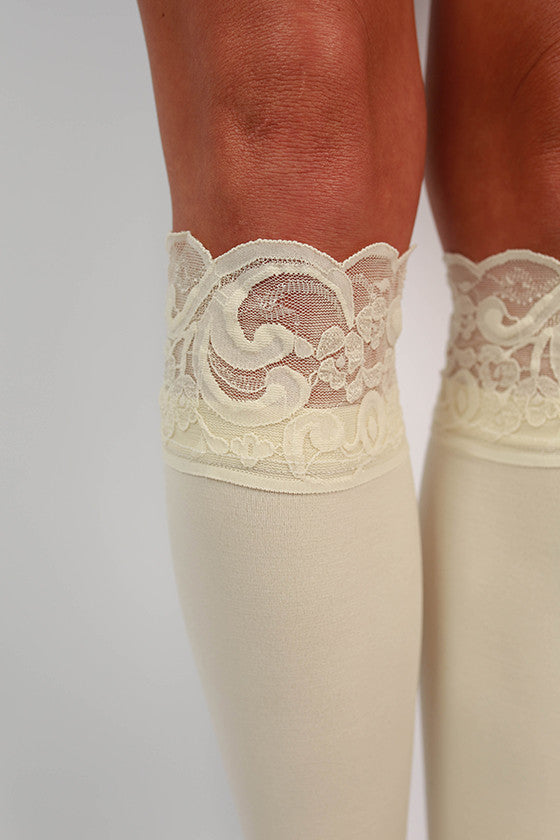 Lacie Lace Boot Tights in Cream