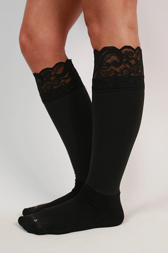 Lacie Lace Boot Tights in Black