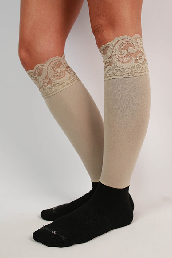 Lacie Lace Boot Tights in Stone