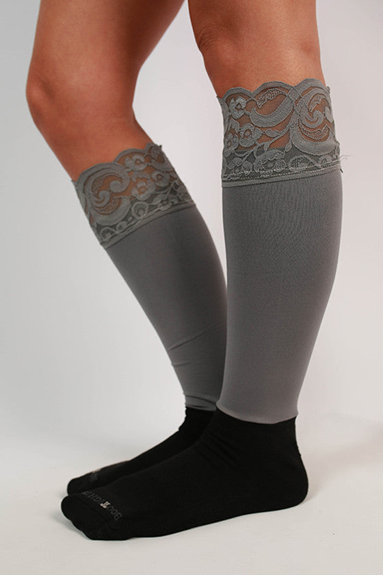 Lacie Lace Boot Tights in Grey
