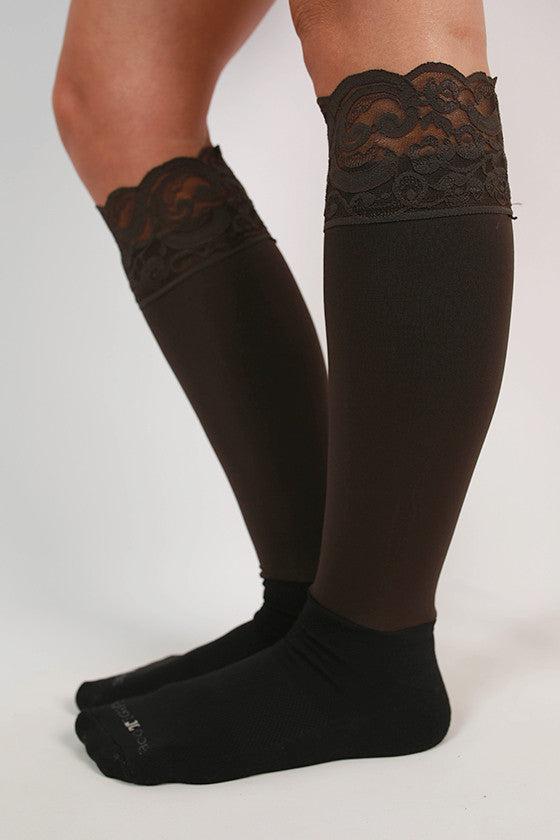 Lacie Lace Boot Tights in Chocolate