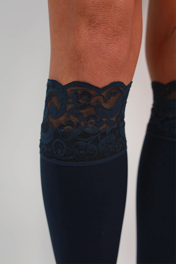 Lacie Lace Boot Tights in Navy