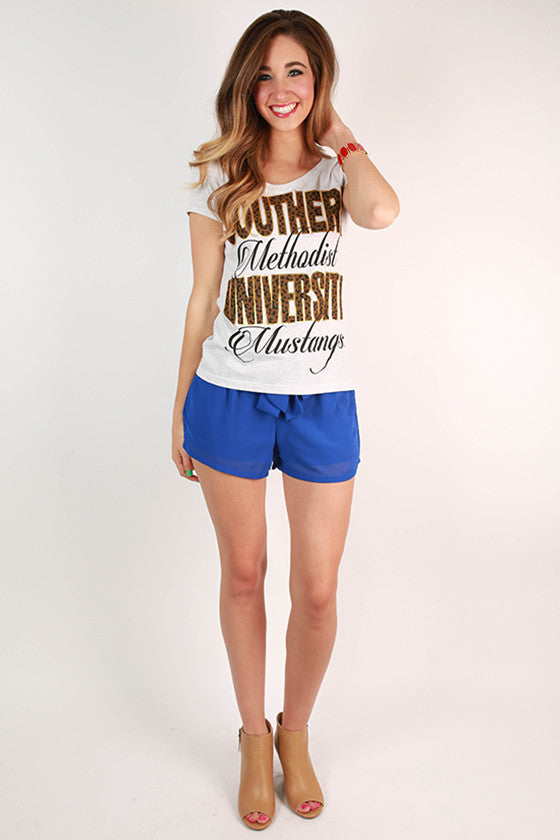 Leopard & Foil Scoop Tee Southern Methodist University