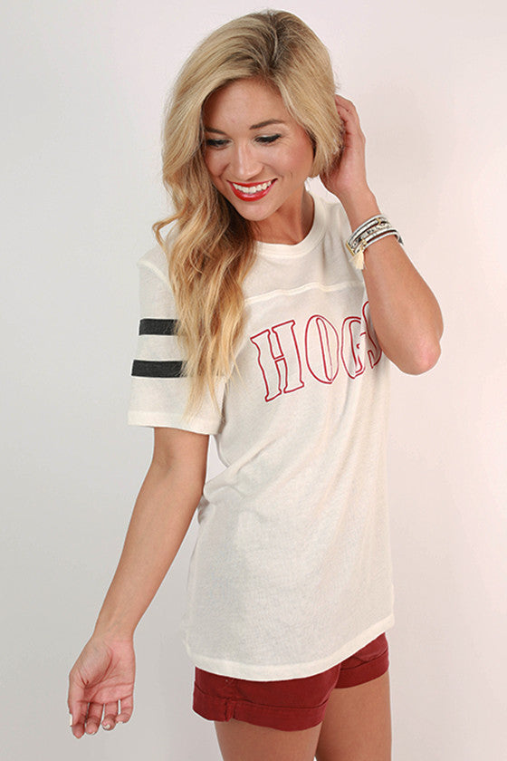 HOGS Football Tee in White