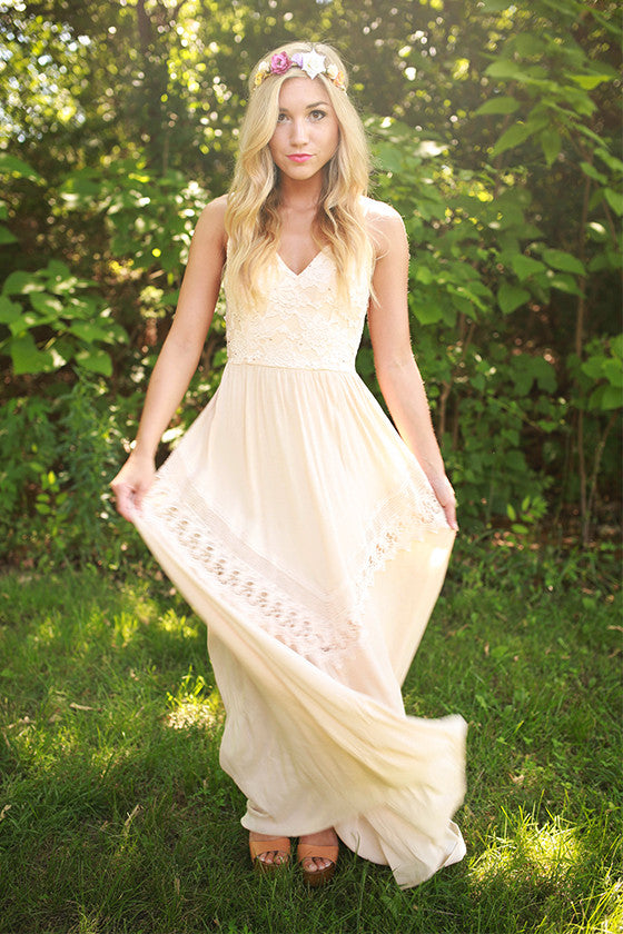 Champagne Evening Maxi Dress in Blush