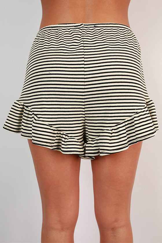 The Wanderer Stripe Ruffle Shorts in Ivory
