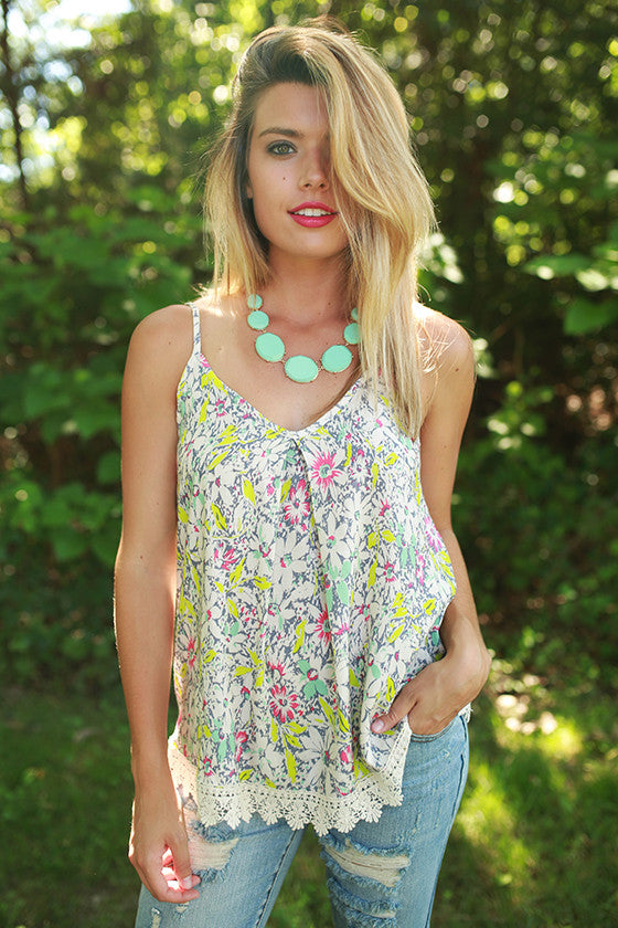 Sweet Summer Floral Tank in Cream
