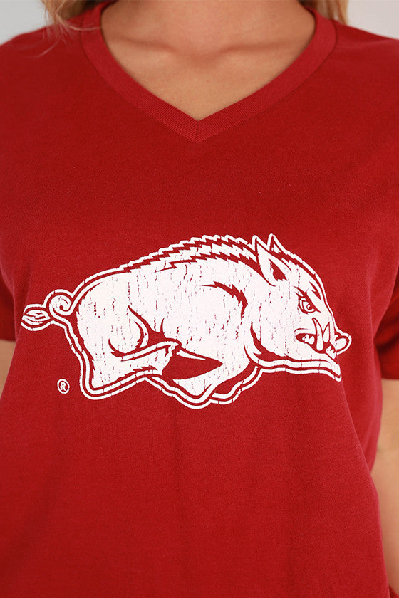 Distressed Razorback V-neck Tee