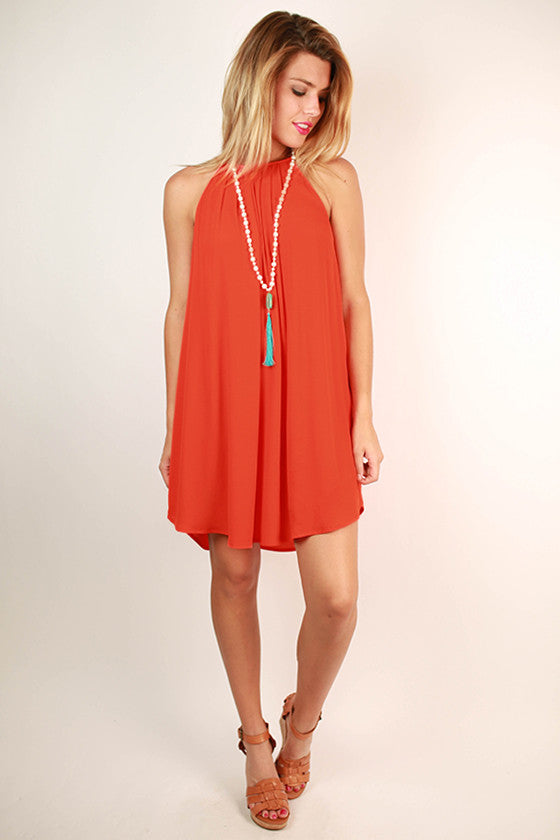 Seize The Day Shift Dress in Tangerine