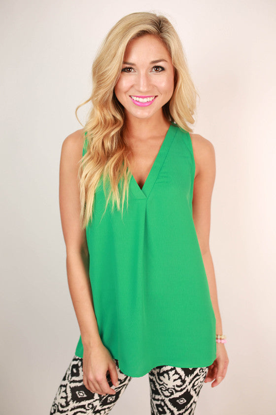 Southern Sangria V-Neck Tank in Emerald