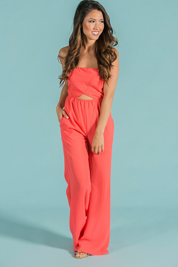 Sweet Mystery Jumpsuit in Coral