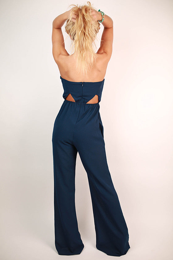Patio Happy Hour Jumpsuit in Navy