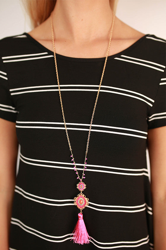 Tassel Me Pretty Necklace in Pink