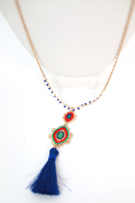Tassel Me Pretty Necklace in Royal Blue