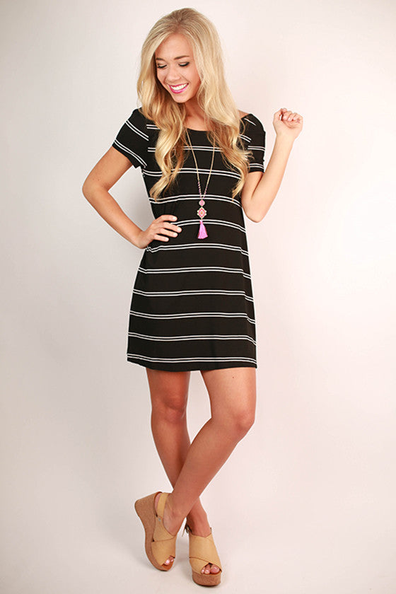 Giggles & Stripes Open Back T-Shirt Dress in Black