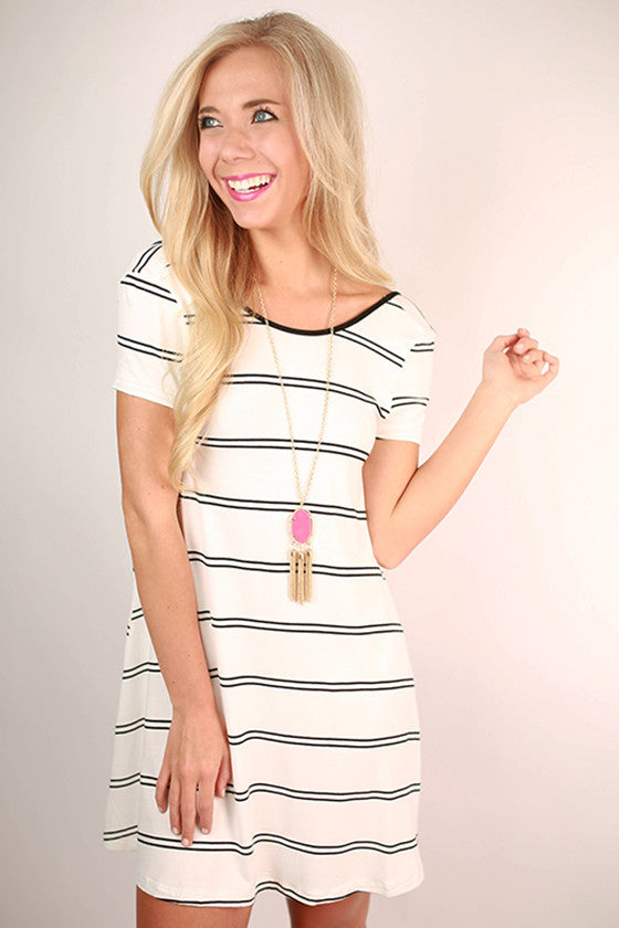 Giggles & Stripes Open Back T-Shirt Dress in Ivory