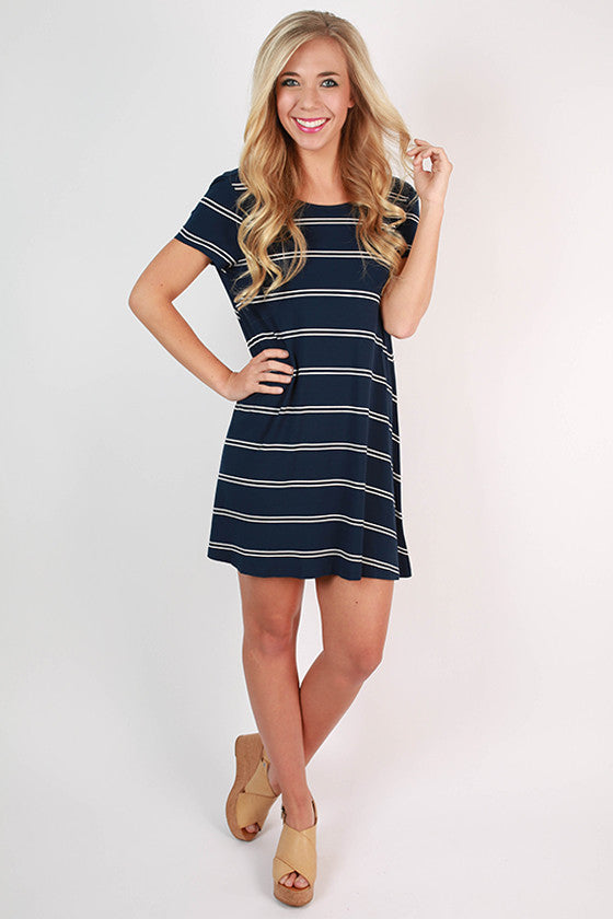 Giggles & Stripes Open Back T-Shirt Dress in Navy