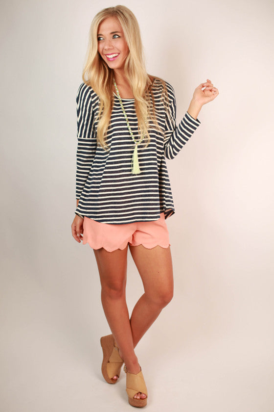 So Presh Scallop Shorts in Peach