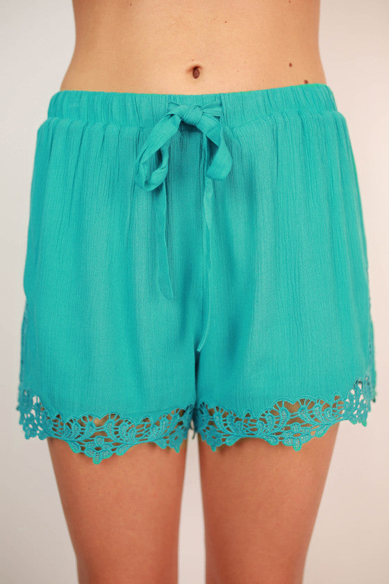 Party Time Crochet Trim Shorts in Turquoise