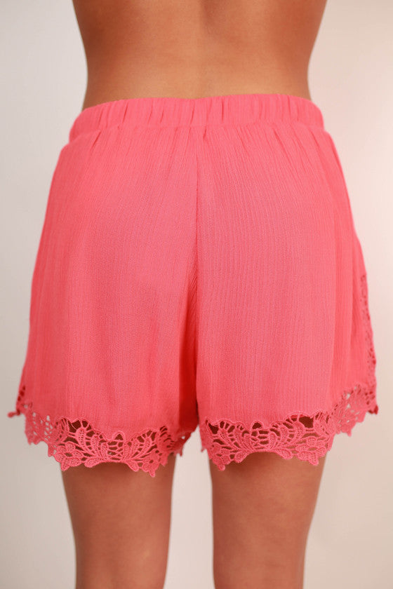 Party Time Crochet Trim Shorts in Calypso