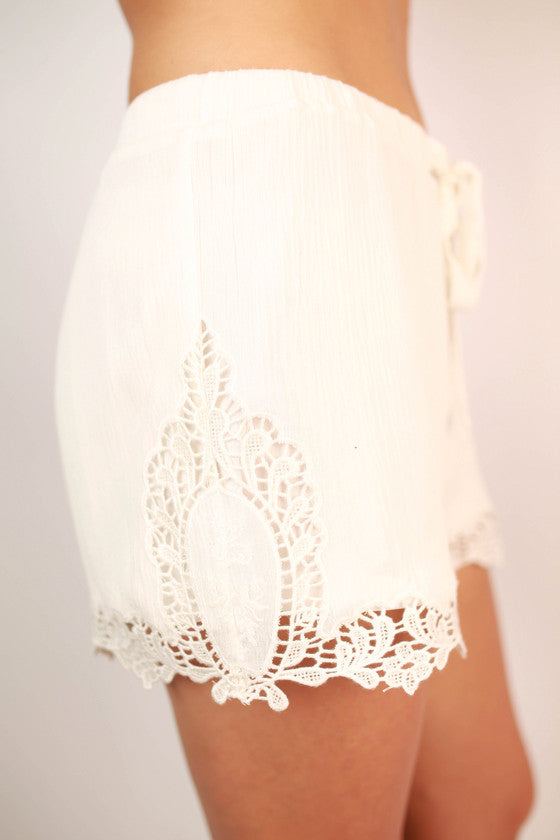Party Time Crochet Trim Shorts in White